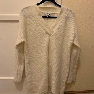 Ganni white alpaca wool sweater oversized